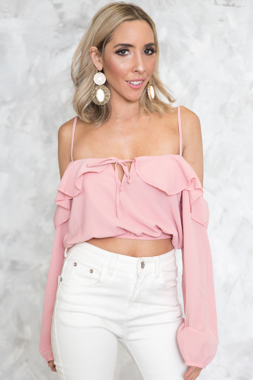 Off-Shoulder Ruffle Crop Top - Coral - Haute & Rebellious