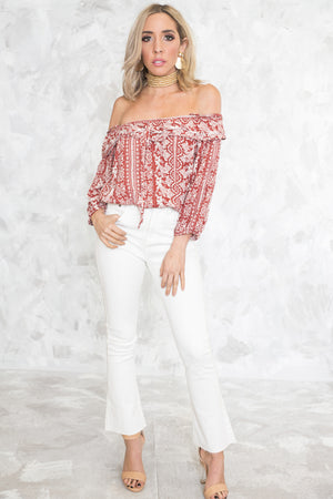 Off-Shoulder Tribal Print Top - Haute & Rebellious