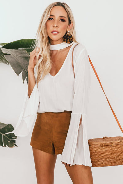Bell Sleeve Top with Slit Sleeve