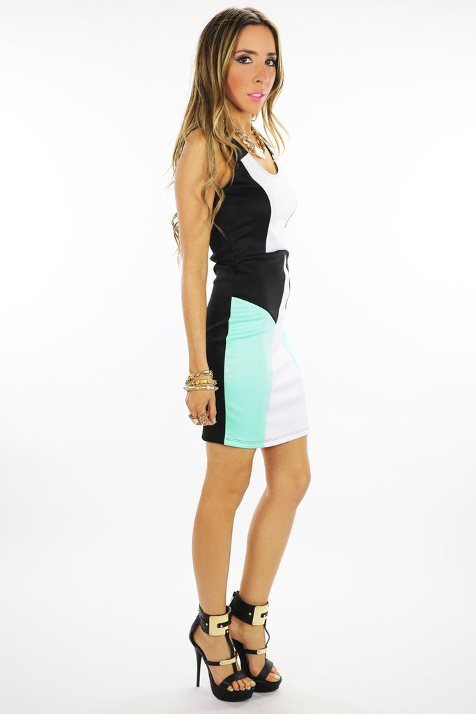 GEOMETRIC COLOR BLOCK DRESS