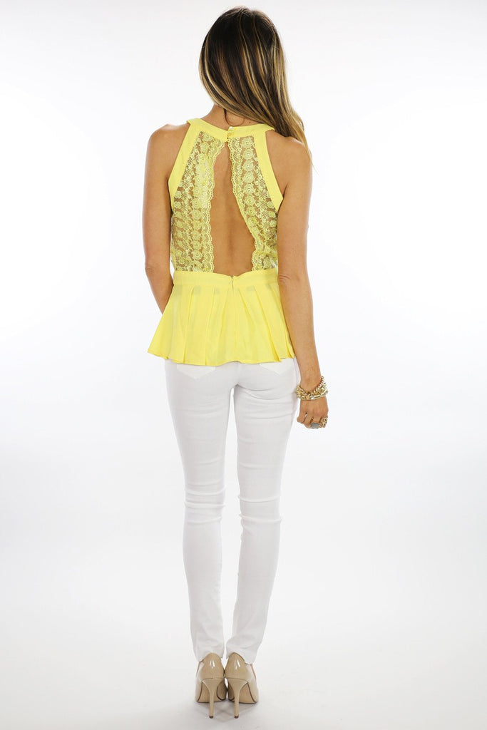 LACE  DETAIL TOP - Yellow