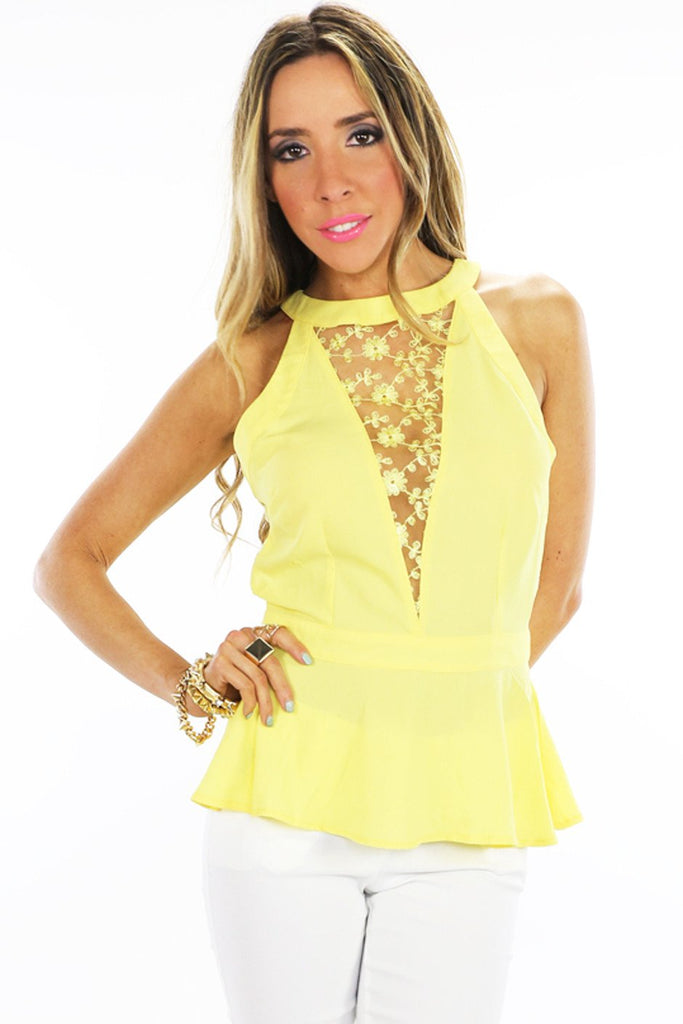 LACE  DETAIL TOP - Yellow - Haute & Rebellious