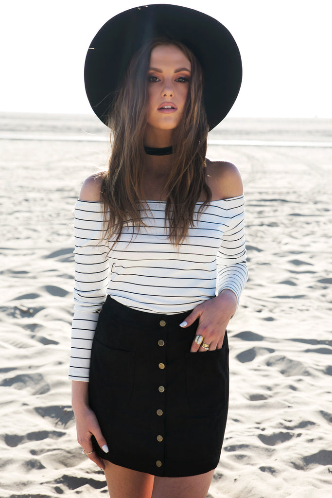 Off The Shoulder Striped Top - White