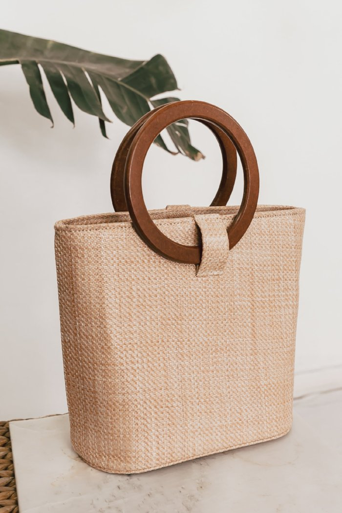 Circular Handle Basket Bucket Bag