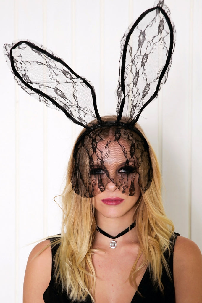 Sexy Bunny Lace Headband - Black