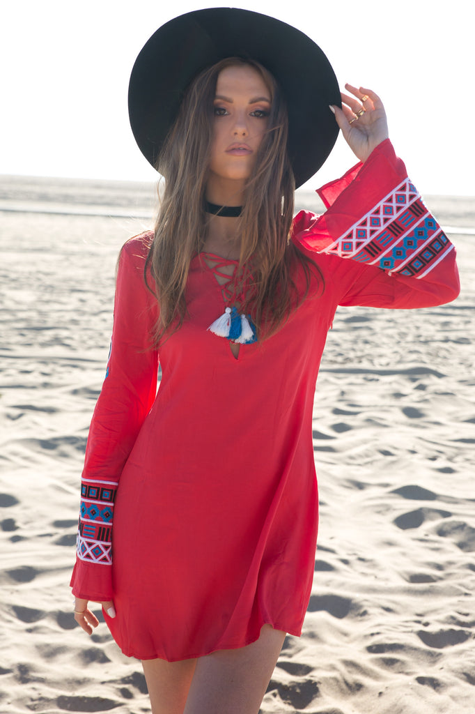 Tribe Queen Bell-Sleeve Dress