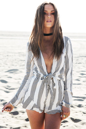 Skin & Stripes Deep-V Tie Romper /// ONLY 1-L LEFT/// - Haute & Rebellious