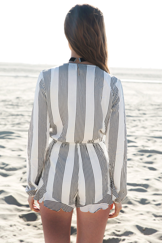 Skin & Stripes Deep-V Tie Romper
