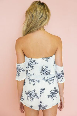 Off-Shoulder Embroidery Romper with Ruffle Detail