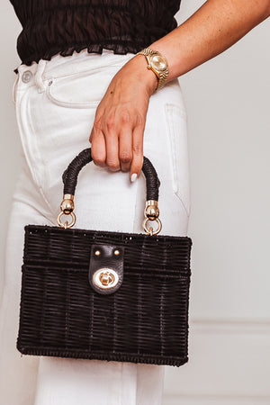 Small Straw Box Bag - Black