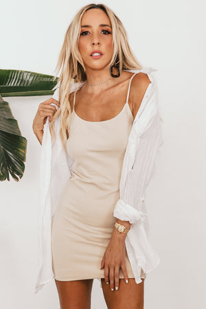Long Stretch Camisole Dress - Nude