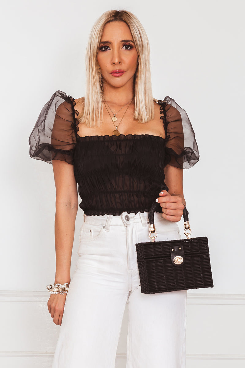 Puff Sleeve Crop Top - Black