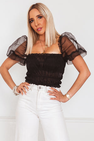 Mesh Puff Sleeve Ruched Top - Black