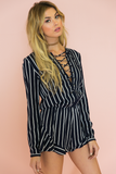 Cross The Line Lace-Up Romper