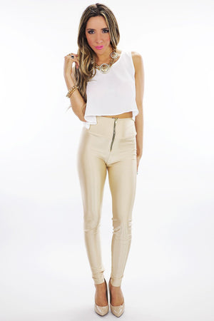 LORIN HIGH WAISTED LEGGINGS - Beige - Haute & Rebellious