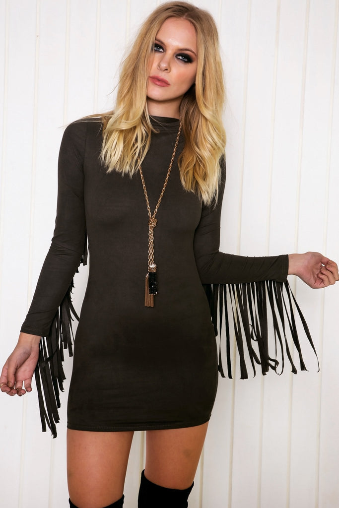 Akela Suede Fringe Dress - Olive