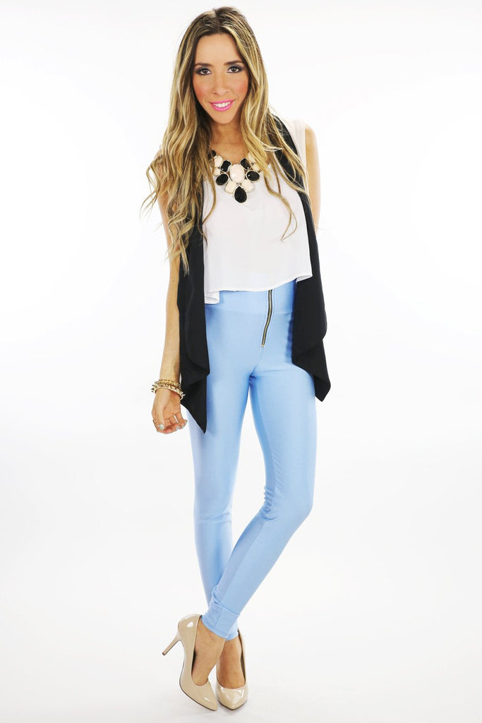 LORIN HIGH WAISTED LEGGINGS - Blue - Haute & Rebellious