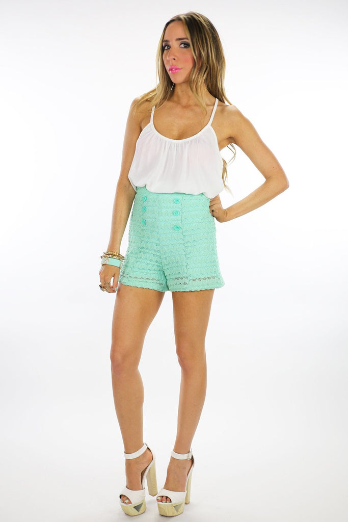 HIGH WAISTED LACE SHORTS - Mint - Haute & Rebellious