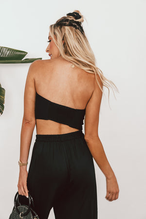 Crop Top with Front Tie - Black