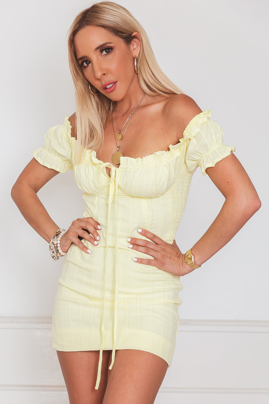 Off-Shoulder Ruched Mini Dress - Yellow
