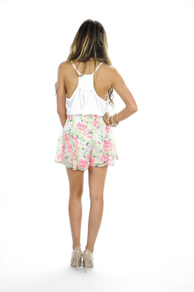 NEON FLORAL PRINT SHORTS - Mint/Pink