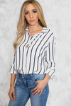 Boyfriend Striped Button-Up Shirt - Haute & Rebellious