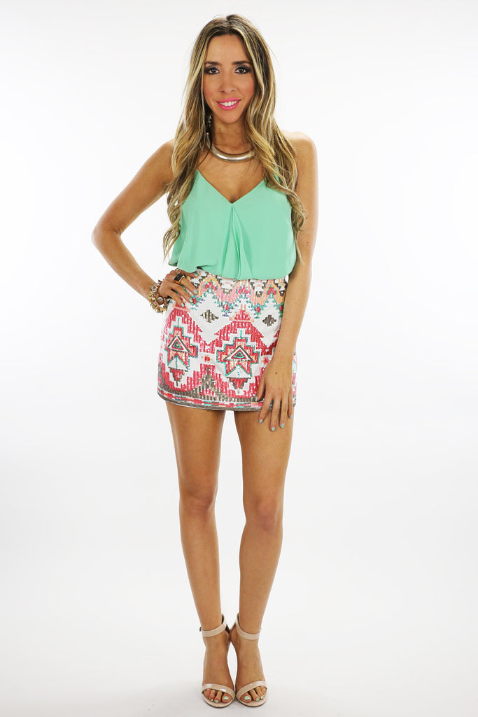 TRIBAL SEQUIN SKIRT - White/Coral