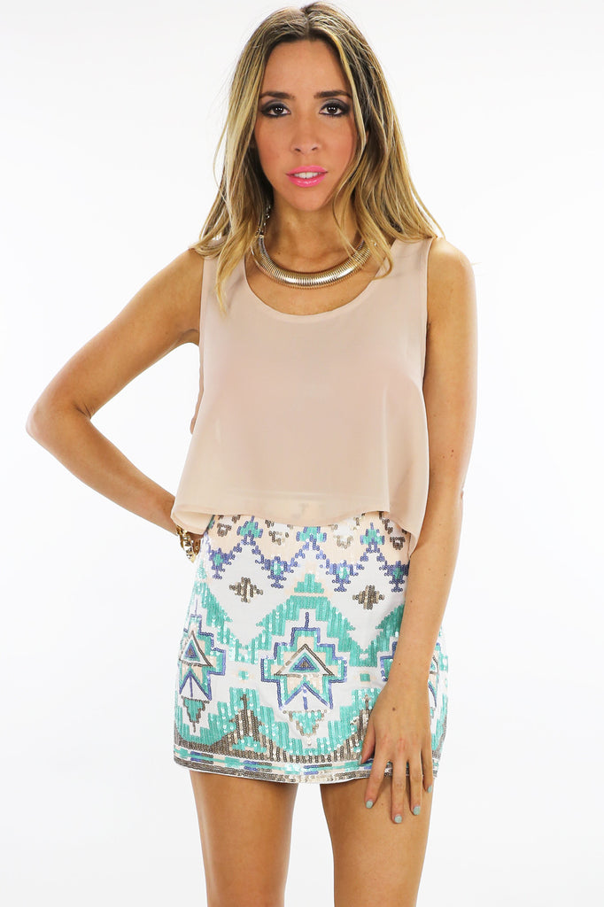 TRIBAL SEQUIN SKIRT - White/Mint