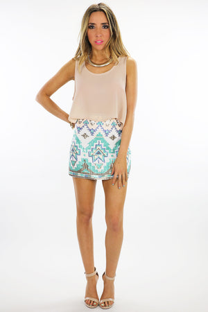TRIBAL SEQUIN SKIRT - White/Mint - Haute & Rebellious