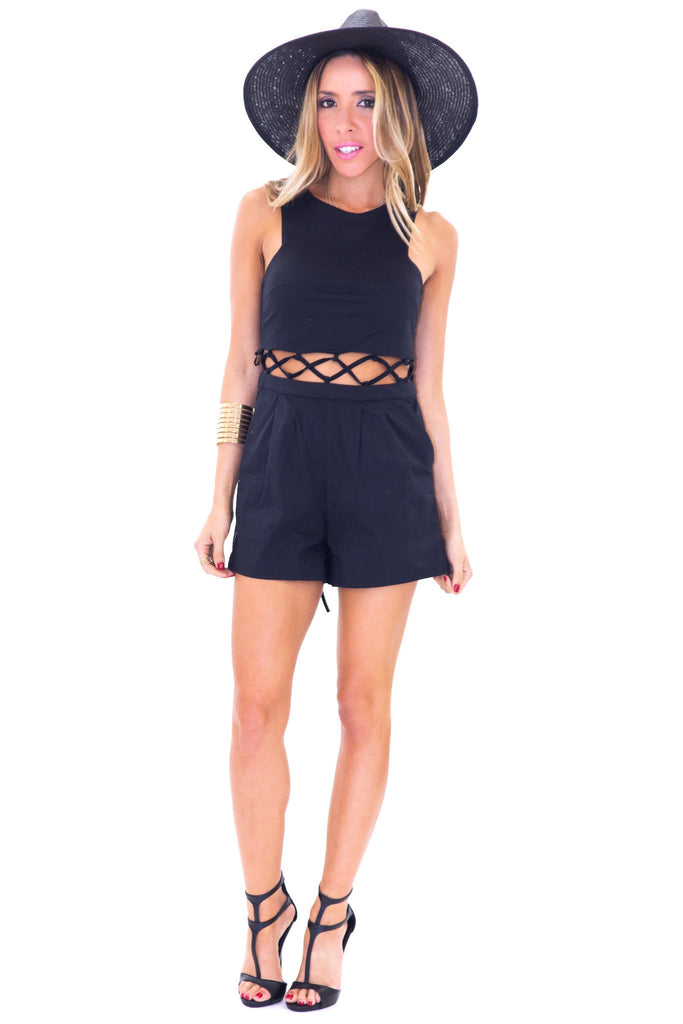BRAIDED CUTOUT WAIST ROMPER - Black