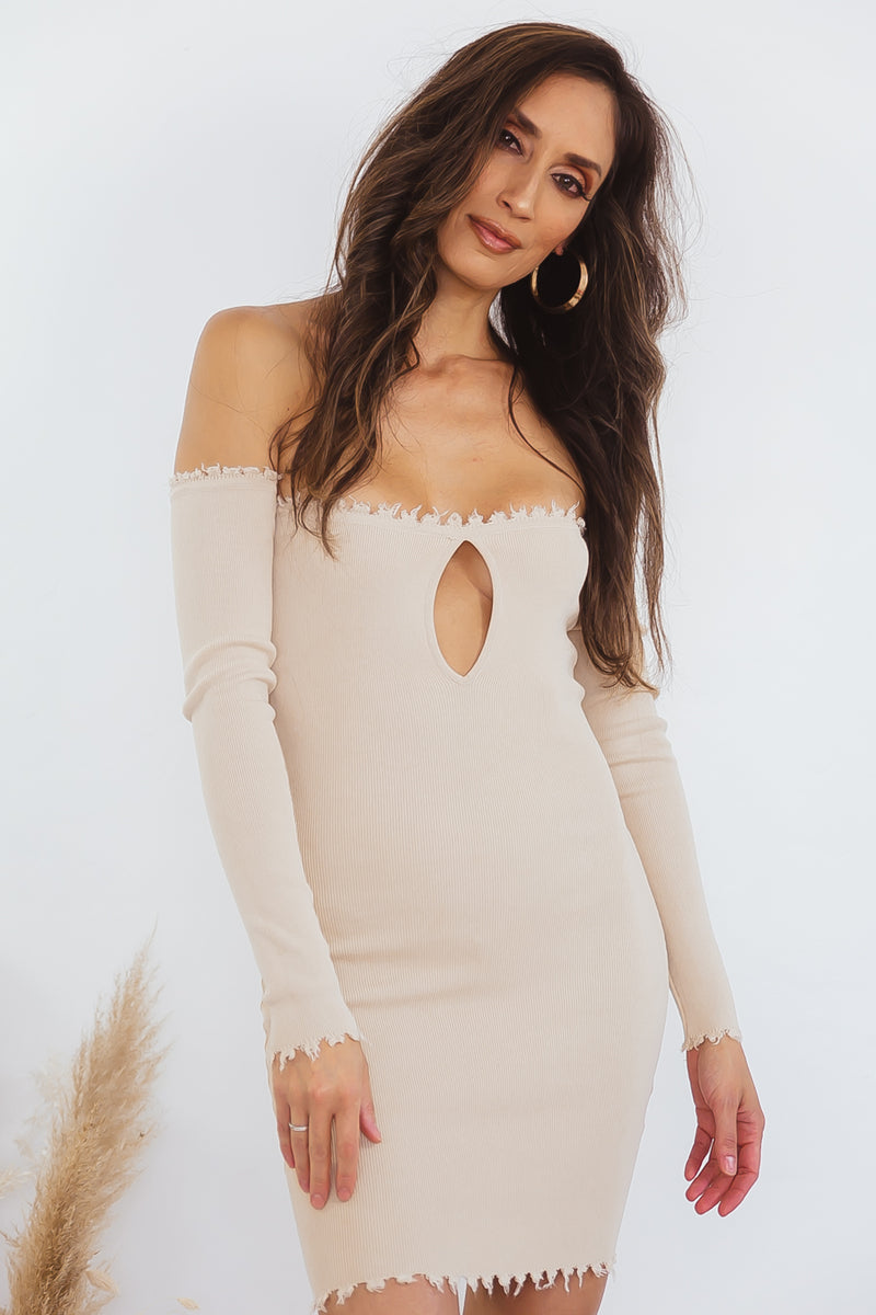 Shoulder Ribbed Dress with Keyhole Detail