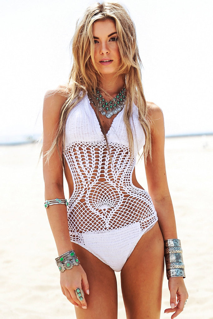 Calatheas Crochet One-Piece Bikini - White