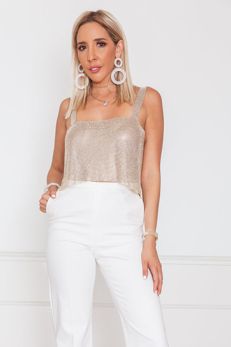 Rhinestone Top - Gold