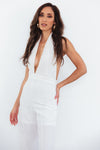 Deep-V Sleeveless Jumpsuit - White