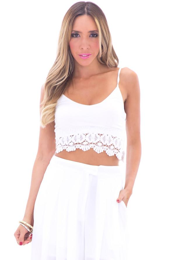 DAISEY LACE CROP TOP - WHITE