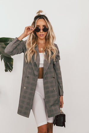 Plaid Double Breasted Long Blazer