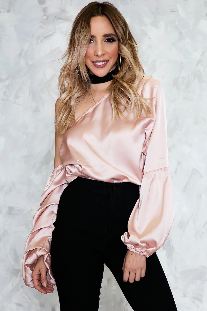 Satin One-Shoulder Top