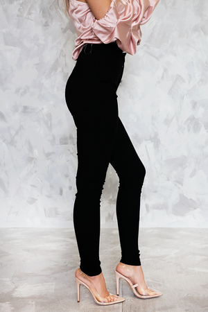 Fitted Stretch Pants - Black