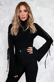 Bell Sleeve Ribbed Bodysuit with Lace-Up