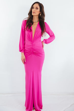 Long Sleeve Deep V Dress - Fuchsia