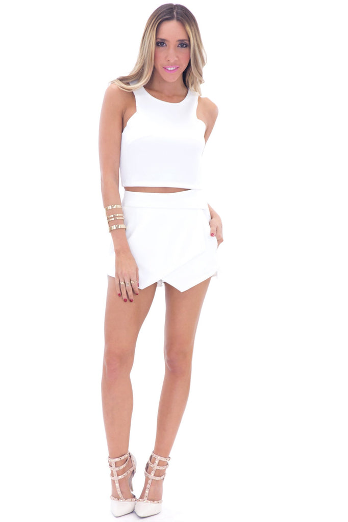 HALLIE ASYMMETRICAL SKORT - WHITE