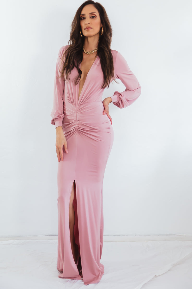 Long Sleeve Deep V Dress - Blush