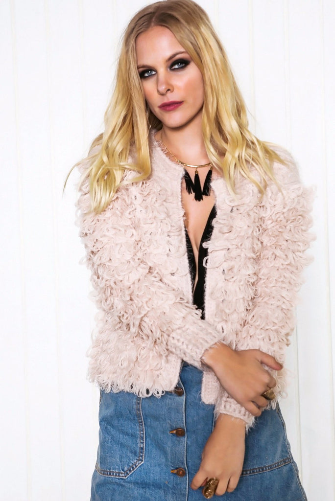 Dafney Loop Shag Jacket - Blush