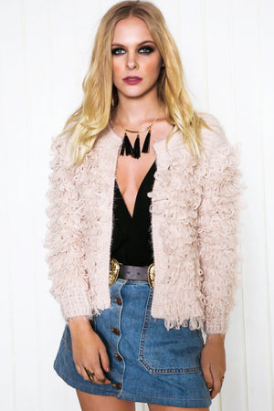 Dafney Loop Shag Jacket - Blush - Haute & Rebellious