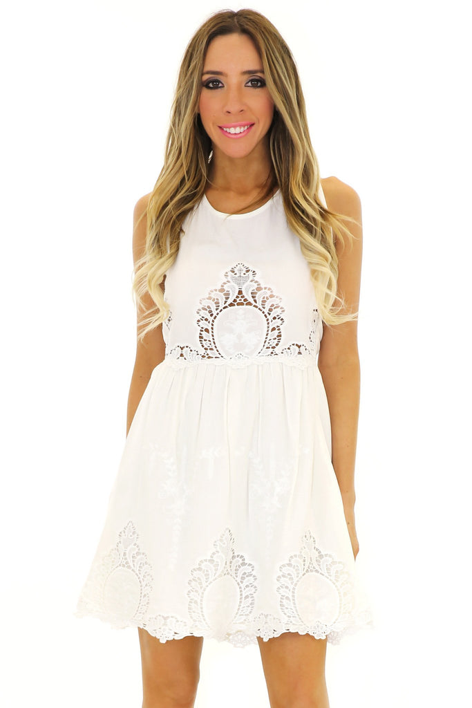 LANA LACE EMBROIDERED DRESS
