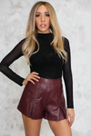 Only Stitched Leather Shorts - Maroon - Haute & Rebellious