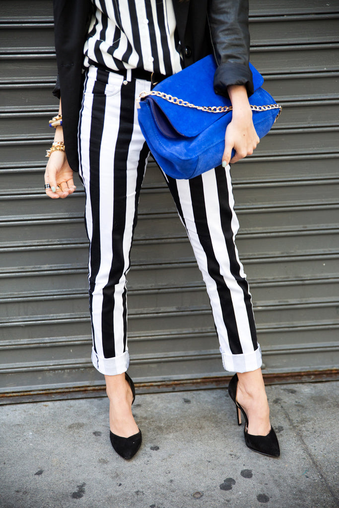 VERTICAL STRIPE STRETCH SKINNY PANT