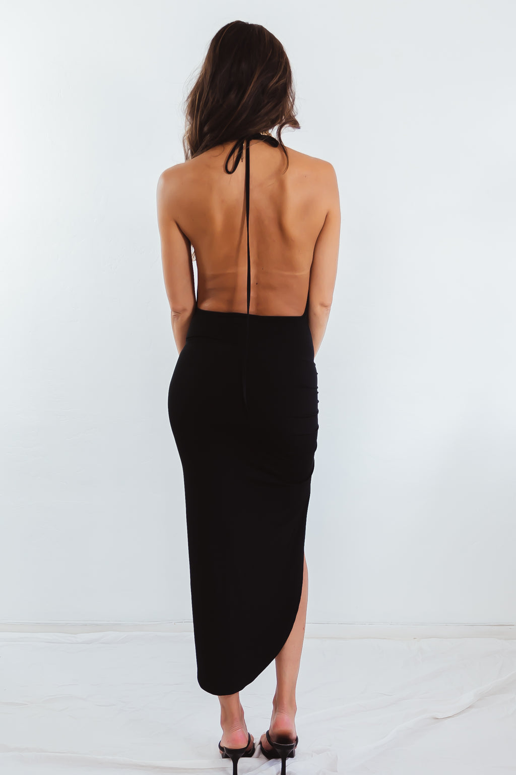 High-Slit Asymmetric Hem Dress