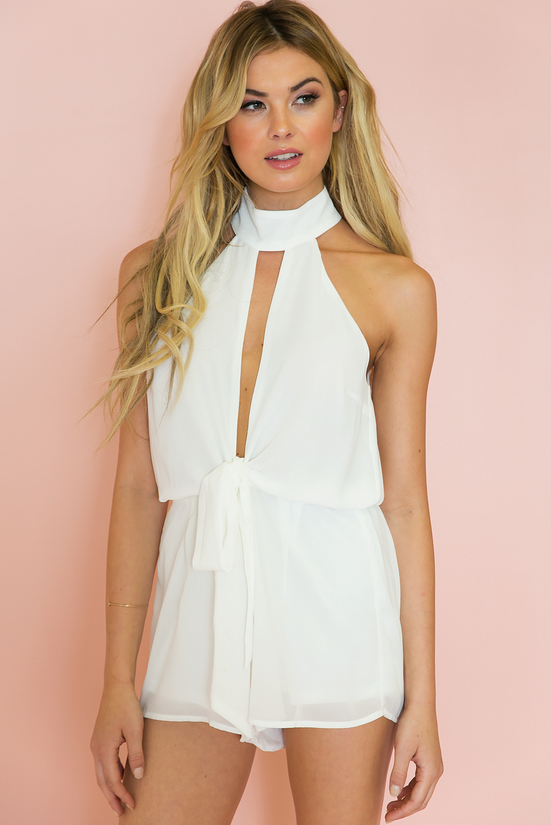 Think Twice Tie Romper - Haute & Rebellious