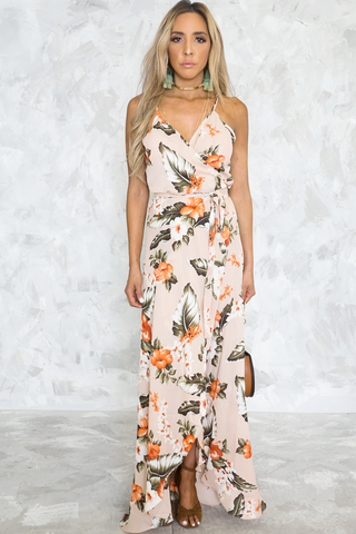LAUREN DRAPED LONG DRESS